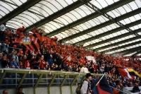 Anhänger von Bayer 04 in der BayArena vor dem Umbau