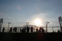 Football in Hungary - sunset behind the stadium