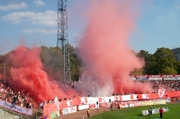 Hallescher FC vs. 1. FC Magdeburg, home sector, 2009