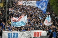 march of FC Hansa Rostock supporters in Hamburg