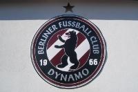 Logo des BFC Dynamo an der Tribüne des Sportforums