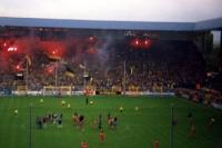Die Dortmunder Südtribüne des Westfalenstadions brennt, 1991/92