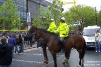 Reiterstaffel vor dem Signal Iduna Park in Dortmund