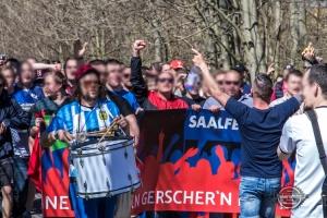 Marsch des FC Saalfeld zum Spiel gegen Gera