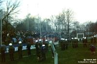 Polizeieinsatz im Alfred-Kunze-Sportpark, der FC Berlin (BFC Dynamo) zu Gast beim FC Sachsen Leipzig