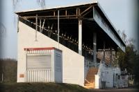 Haupttribüne des Alfred-Kunze-Sportparks in Leipzig-Leutzsch