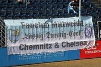 Zaunfahnen der Fans des Chemnitzer FC