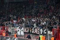 Ultras / Fans von Eintracht Frankfurt feiern einen Treffer bei Union Berlin