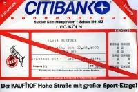 Eintrittskarte 1. FC Köln gegen Hansa Rostock im Mai 1992