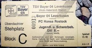 TSV Bayer 04 Leverkusen vs. F.C. Hansa Rostock