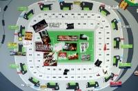 Aufkleber diverser Vereine in der Allianz Arena