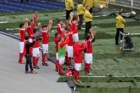 FSV Zwickau feiert den Punktgewinn in Jena