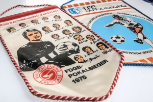 Fußballwimpel Sachsenring Zwickau und 1. FC Magdeburg