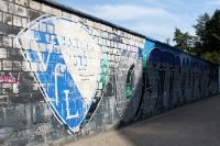Graffiti vor der Osttribüne am Stadion des VfL Bochum