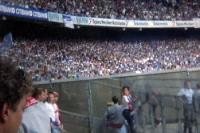 Tausende Fans des FC Schalke 04 beim 1. FC Köln, Müngersdorfer Stadion, Anfang 90er Jahre
