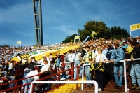 Gästeblock beim Spiel HSV - Dynamo Dresden im Volksparkstadion, Herbst 1994