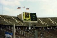 Walter Jungshans von Hertha BSC, 1993, Anzeigetafel im Berliner Olympiastadion
