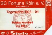 Eintrittskarte des SC Fortuna Köln 1993/94 (gegen Hertha BSC 1:3)