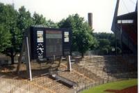 Anzeigetafel des Rheinstadions von Fortuna Düsseldorf, Anfang 90er Jahre