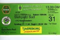 Eintrittskarte im Stadion Bökelberg / Borussia Mönchengladbach