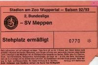 Eintrittskarte 1992/93: Wuppertaler SV - SV Meppen