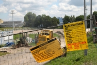Bauarbeiten am Stadion Miejski in Jelenia Góra
