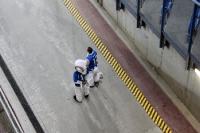Maskotchen von Lech Poznan auf standby im Stadion Miejski