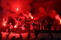 Pogon Szczecin und Legia Warszawa mit Bengalos