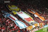Choreographie im Fanblock des SK Slavia Praha