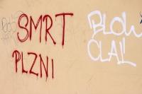Graffiti in der Nähe des Slavia-Stadions