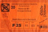Eintrittskarte Relegationsspiel Hannover 96 gegen Energie Cottbus