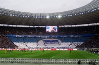 Choreographie in der Ostkurve beim Spiel Hertha BSC - Bayer 04 Leverkusen