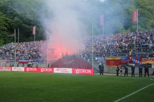 Pyroshow KFC Uerdingen Fans in Wuppertal Pokalfinale 2019