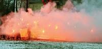 Pyrotechnik beim Turnier in Leipzig mit Partizan Minsk
