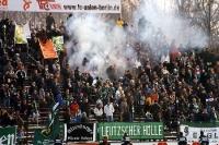 Qualm im Block des FC Sachsen Leipzig beim 1. FC Union Berlin
