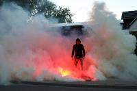 Pyrotechnik auf dem Weg zum Stadion