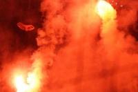 Pyrotechnik im Block der Grasshopper Zürich Fans