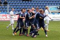 Freude über den Treffer zum 1:0 von RB Leipzig beim 1. FC Magdeburg
