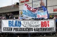 Blau weiß rot gegen polizeiliches Kartenverbot, Fandemo des FC Hansa Rostock