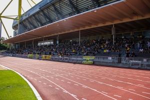 Tribüne Stadion Rote Erde zu Corona Zeiten BVB U23 gegen RWE 20-09-2020