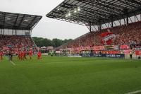 RWE Fans und Mannschaft feiern Pokalsieg 2016