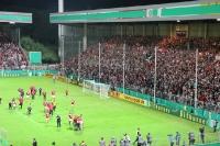 Siegesfeier von RWE nach Pokalsieg gegen Union Berlin