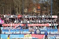 politische Spruchbänder beim SV Babelsberg 03