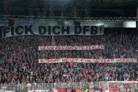 Spruchbänder beim Duell 1. FC Union Berlin gegen Eintracht Frankfurt