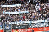 Spruchband beim Spiel MSV Duisburg vs. Eintracht Frankfurt