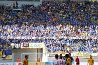 Spruchband im Block des 1. FC Lok beim Leipziger Derby