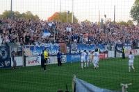 Spieler, Fans und Ultras des SV Babelsberg 03 feiern den 3:0-Sieg gegen den FC Rot-Weiß Erfurt