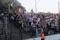 Anhänger des SV Babelsberg 03 grüßen die Gäste aus Erfurt