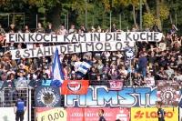 Babelsberger Spruchbänder beim Spiel gegen den KSC