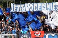 Fahnen und Spruchband bei Babelsberg 03 gegen KSC